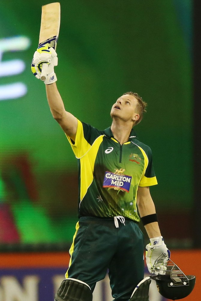 Smith celebrates after scoring his second ODI century