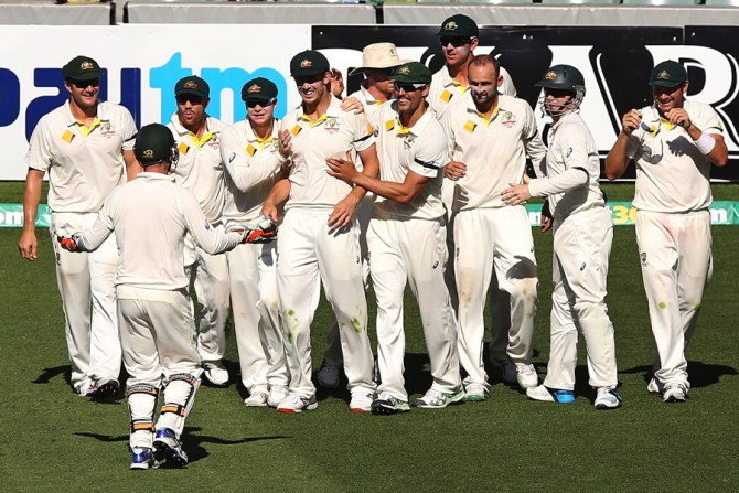 Australia celebrate after winning the first Test by 48 runs