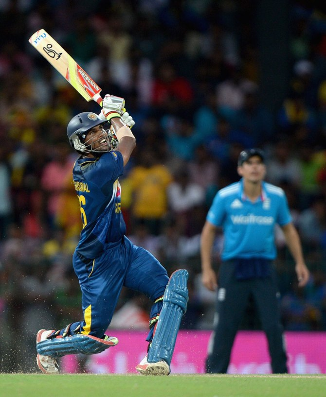 Chandimal hit two boundaries and a six during his unbeaten knock of 55