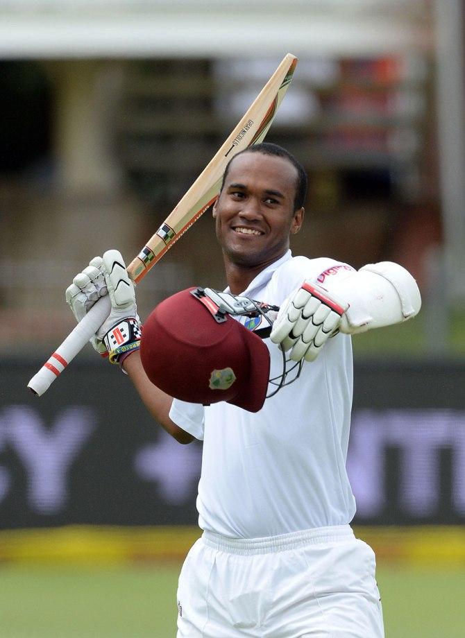 Brathwaite celebrates after scoring his third Test century
