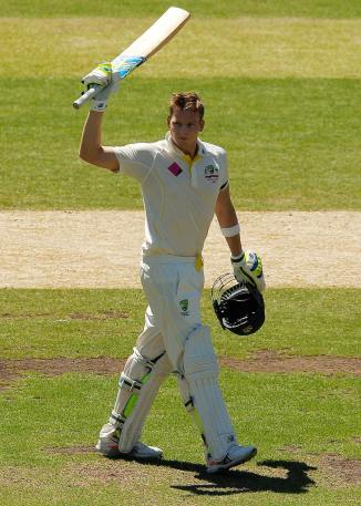 Smith celebrates after scoring his eighth Test century