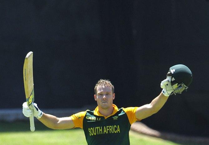 Miller celebrates after scoring his maiden ODI century