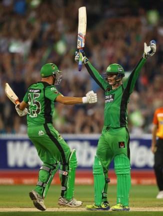 Handscomb celebrates after scoring his maiden Twenty20 century