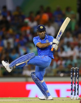 Dhoni hit three boundaries and a six during his unbeaten knock of 45