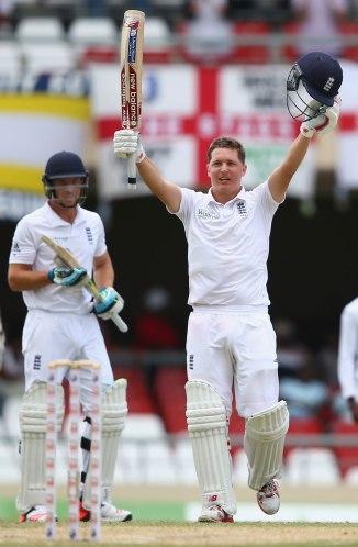 Ballance celebrates after scoring his fourth Test century