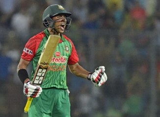 Sarkar celebrates after bringing up his maiden ODI century