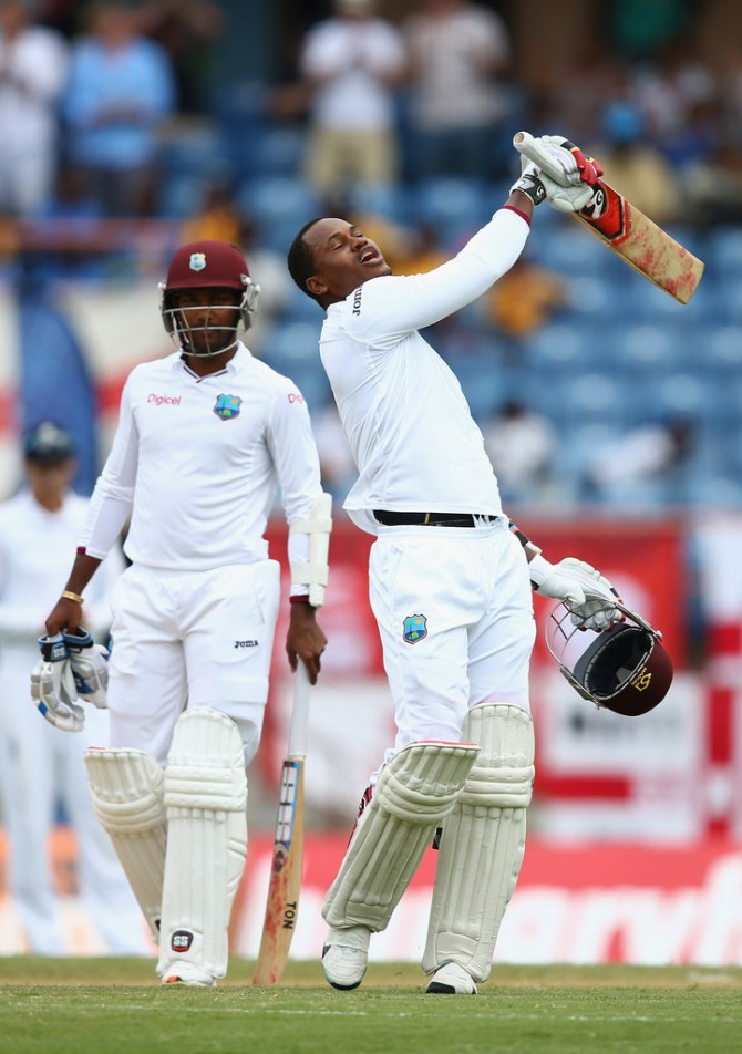 Samuels is ecstatic after scoring his seventh Test century