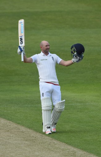 Lyth celebrates after scoring his maiden Test century