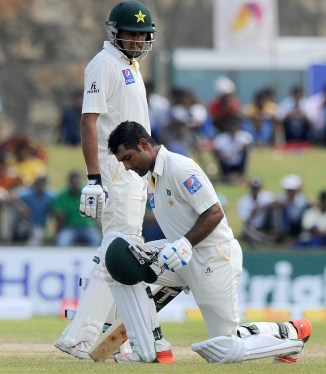 Shafiq celebrates after scoring his seventh Test century