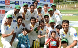 Pakistan celebrate after winning a Test series in Sri Lanka for the first Test  since 2006