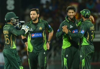 Pakistan celebrate after beating Sri Lanka by 29 runs