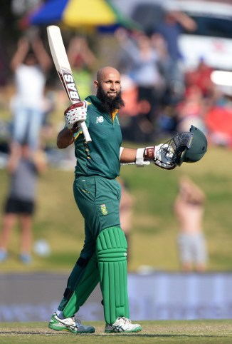 Amla celebrates after scoring his 21st ODI century