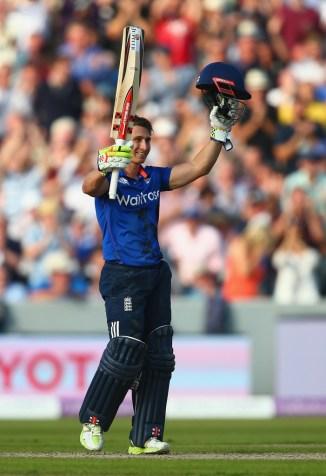 Taylor celebrates after scoring his maiden ODI century