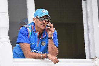 """Shastri (pictured above) allegedly told Naik """"great wicket"""" in a sarcastic tone"""