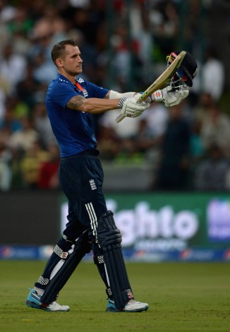 Hales celebrates after scoring his first ODI century