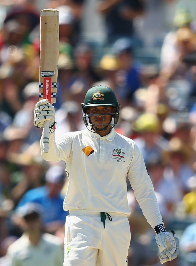 Khawaja celebrates after bringing up his second Test century