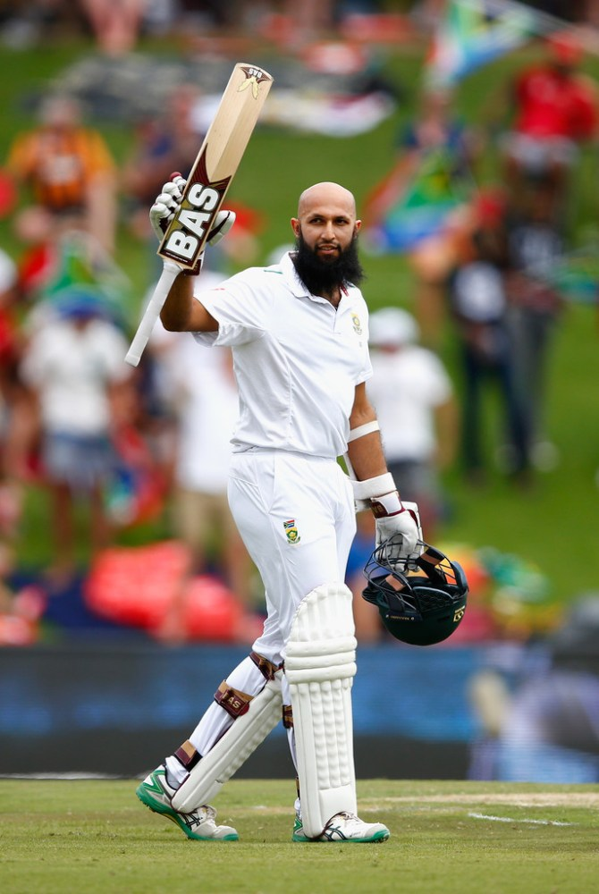 Amla celebrates after scoring his 25th Test century