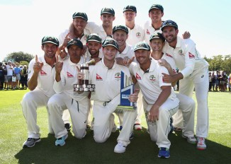 Australia celebrate after whitewashing New Zealand 2-0 and going atop the Test team rankings