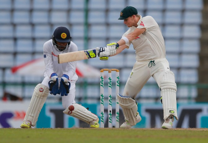 Smith scored his 17th Test fifty
