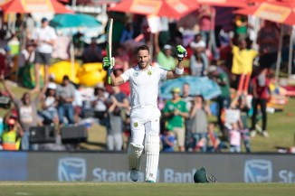 Du Plessis celebrates after scoring his fifth Test century