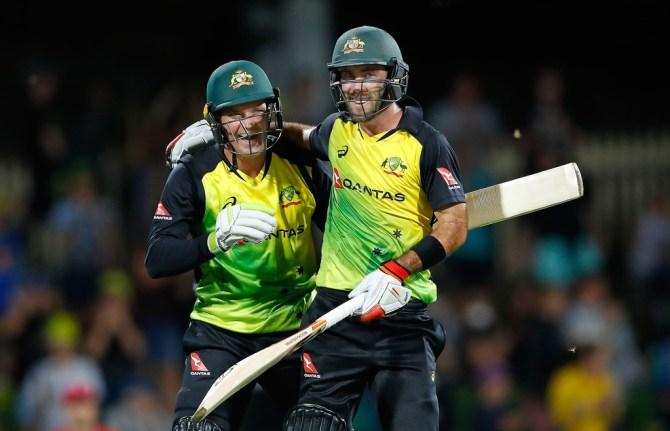 Glenn Maxwell Alex Carey gift Australia England T20 tri-series cricket
