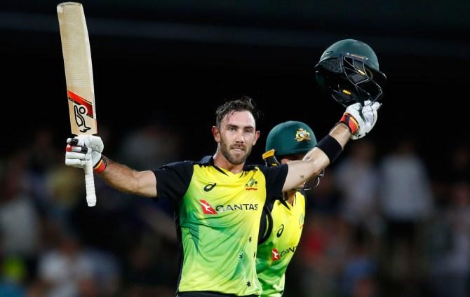 Glenn Maxwell 103 three wickets Australia England T20 tri-series Hobart cricket