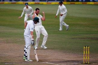 Josh Hazlewood dismiss Quinton de Kock South Africa Australia 1st Test Day 5 Durban cricket
