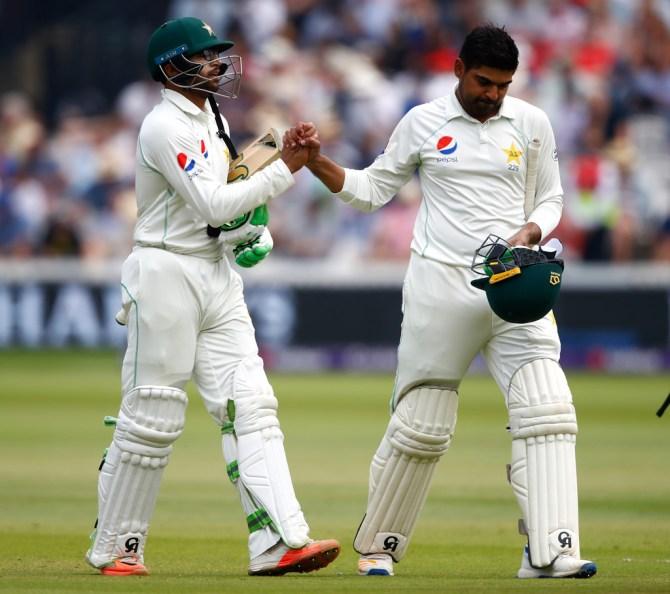 Haris Sohail Imam-ul-Haq celebrate Pakistan beat England nine wickets 1st Test Day 4 Lord's cricket
