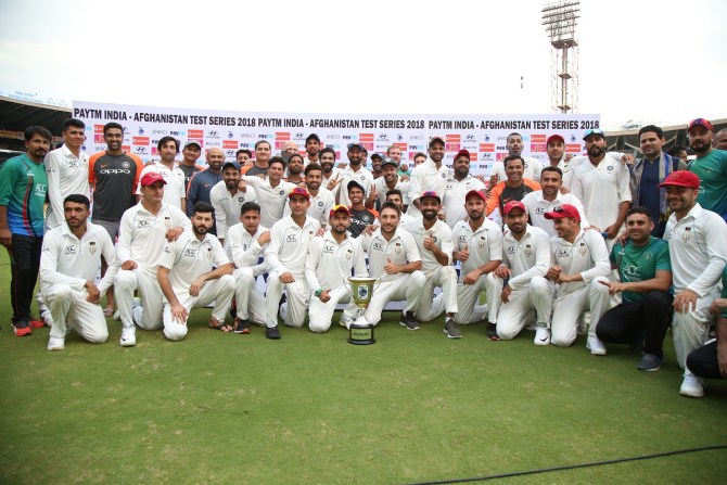 India beat Afghanistan innings 262 runs Only Test Day 2 Bangalore cricket