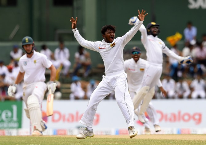 Akila Dananjaya five wickets Sri Lanka South Africa 2nd Test Day 2 Colombo cricket