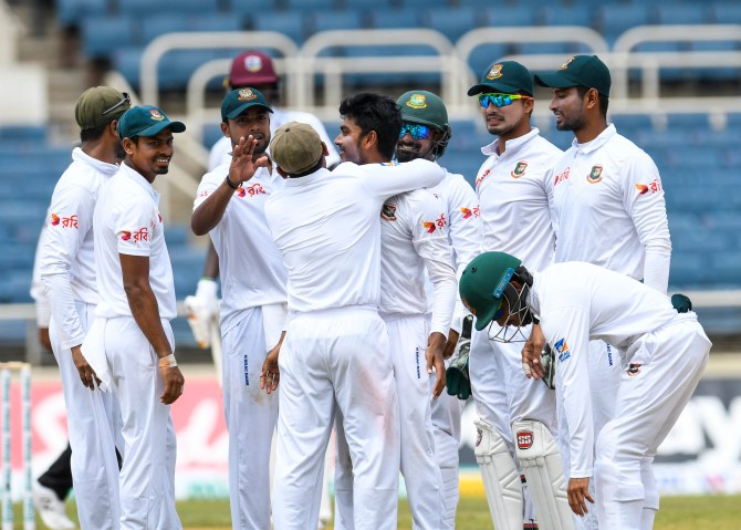 Mehidy Hasan Miraz five wickets West Indies Bangladesh 2nd Test Day 2 Jamaica cricket