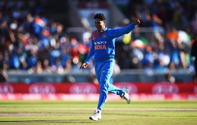 Kuldeep Yadav five wickets England India 1st T20 Manchester cricket