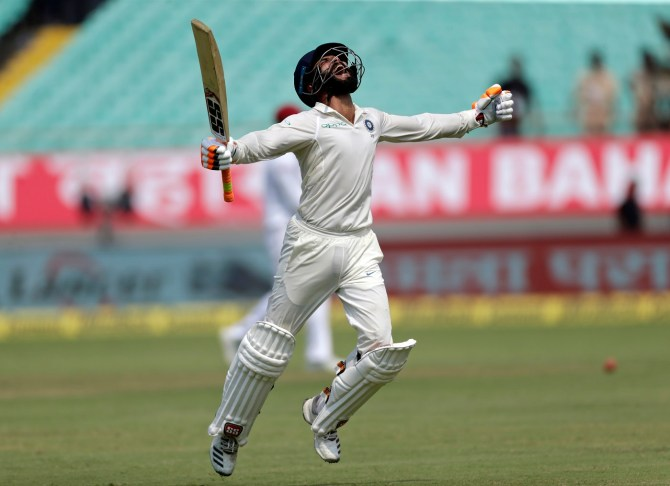 Ravindra Jadeja 100 not out India West Indies 1st Test Day 2 Rajkot cricket