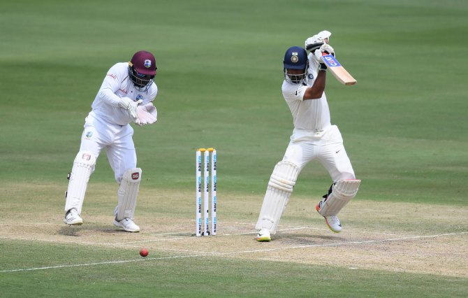 Ajinkya Rahane 75 not out India West Indies 2nd Test Day 2 Hyderabad cricket
