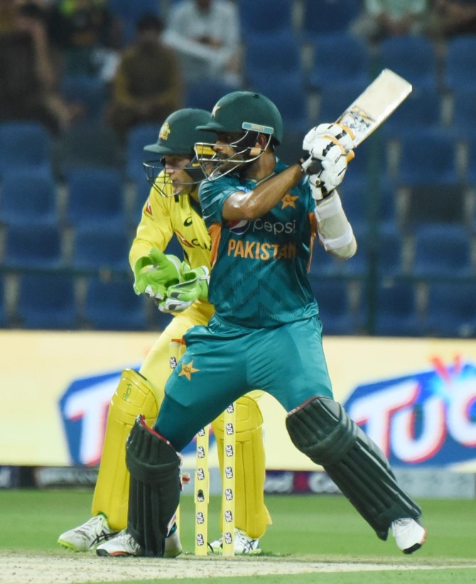 Babar Azam 68 not out Pakistan Australia 1st T20 Abu Dhabi cricket