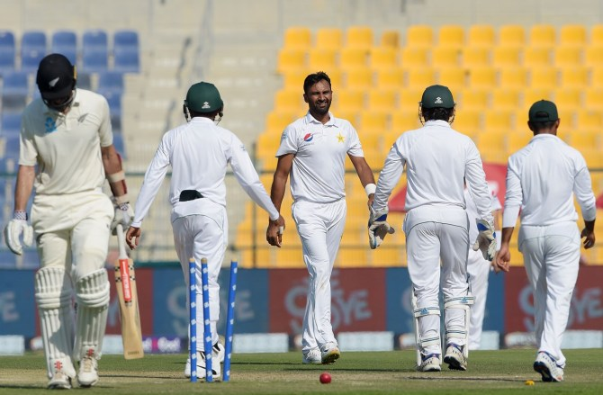 Bilal Asif five wickets Pakistan New Zealand 3rd Test Day 2 Abu Dhabi cricket