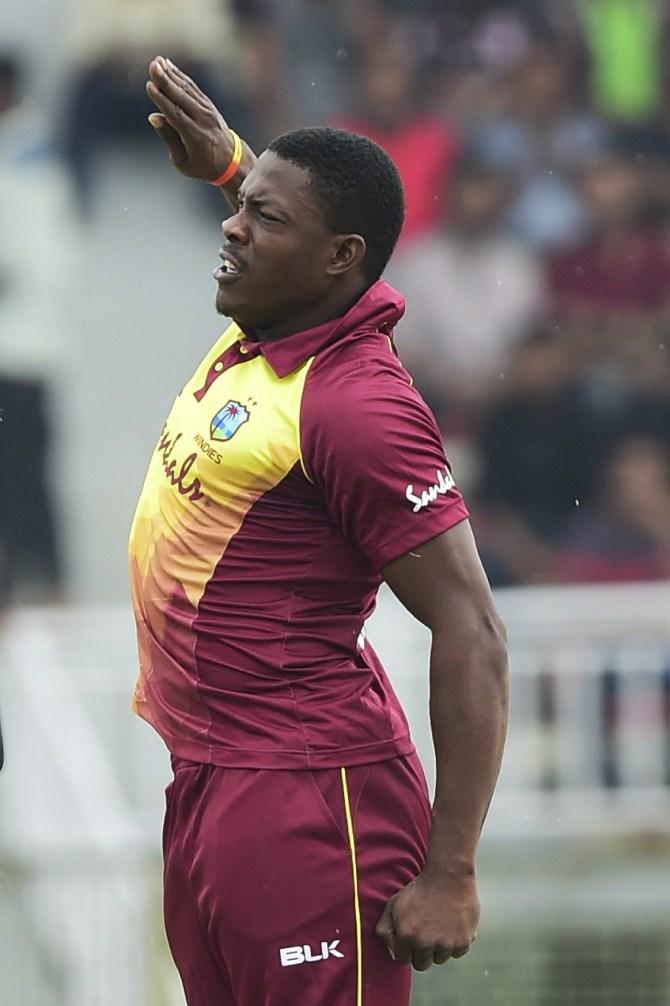 Sheldon Cottrell four wickets Bangladesh West Indies 1st T20 Sylhet cricket