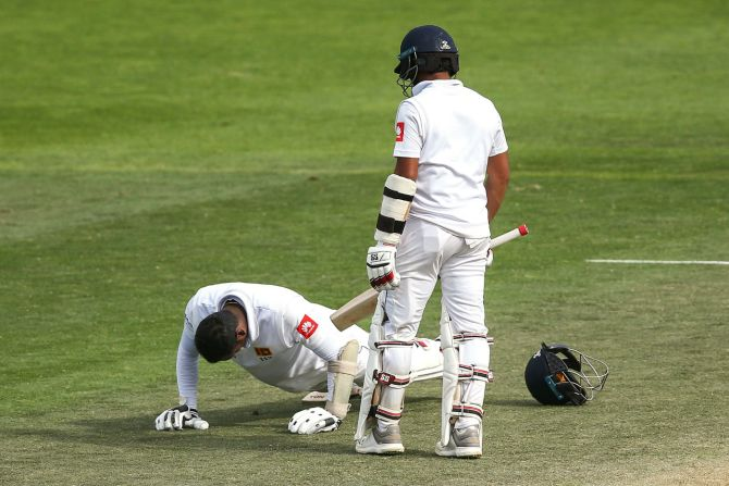Angelo Mathews 117 not out New Zealand Sri Lanka 1st Test Day 4 Wellington cricket
