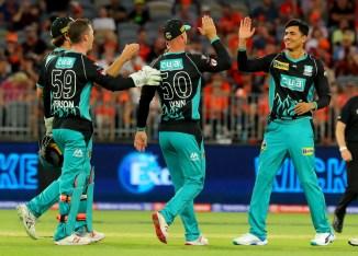 Mujeeb Ur Rahman two wickets Brisbane Heat Perth Scorchers Big Bash League BBL 21st Match cricket