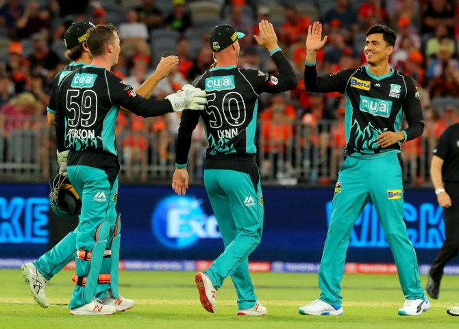 Mujeeb Ur Rahman two wickets Brisbane Heat Perth Scorchers Big Bash League BBL 21st Match cricket