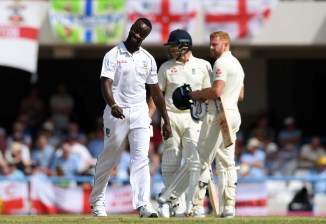 Kemar Roach four wickets West Indies England 2nd Test Day 1 Antigua cricket