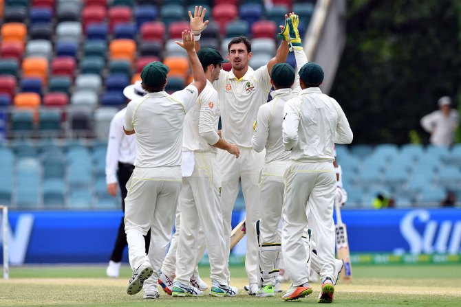 Mitchell Starc five wickets Australia Sri Lanka 2nd Test Day 4 Canberra cricket