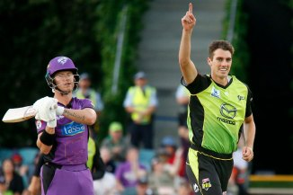 Pat Cummins two wickets 10 runs Sydney Thunder Hobart Hurricanes Big Bash League BBL 55th Match cricket