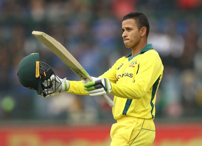 Usman Khawaja 100 India Australia 5th ODI Delhi cricket