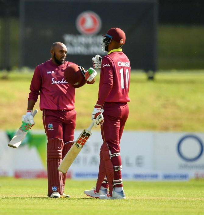 Sunil Ambris 148 Ireland West Indies ODI tri-series 4th match Dublin cricket