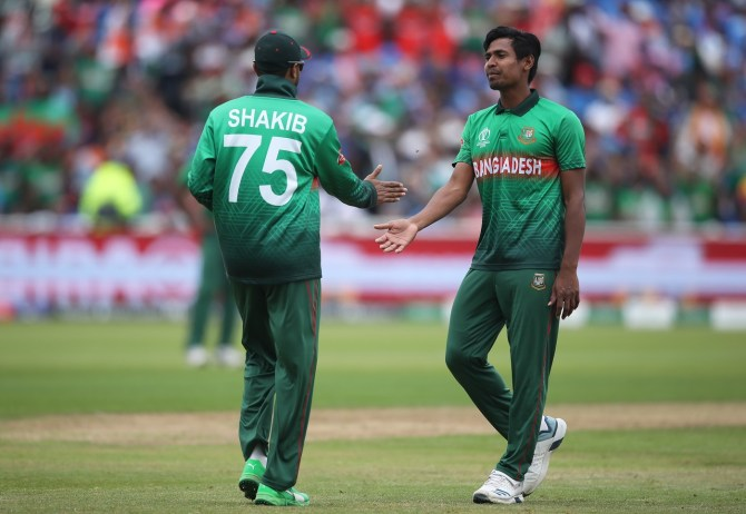 Mustafizur Rahman five wickets India Bangladesh World Cup 40th Match Edgbaston cricket