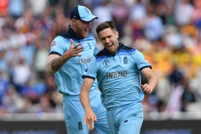 Chris Woakes three wickets England Australia World Cup semi-final Edgbaston cricket