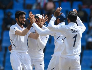Jasprit Bumrah five wickets West Indies India 1st Test Day 4 Antigua cricket