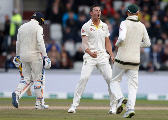 Josh Hazlewood four wickets England Australia 4th Ashes Test Day 3 Manchester cricket
