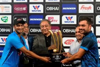 Bangladesh Afghanistan share trophy after T20 tri-series final washed out due to persistent rain Dhaka cricket
